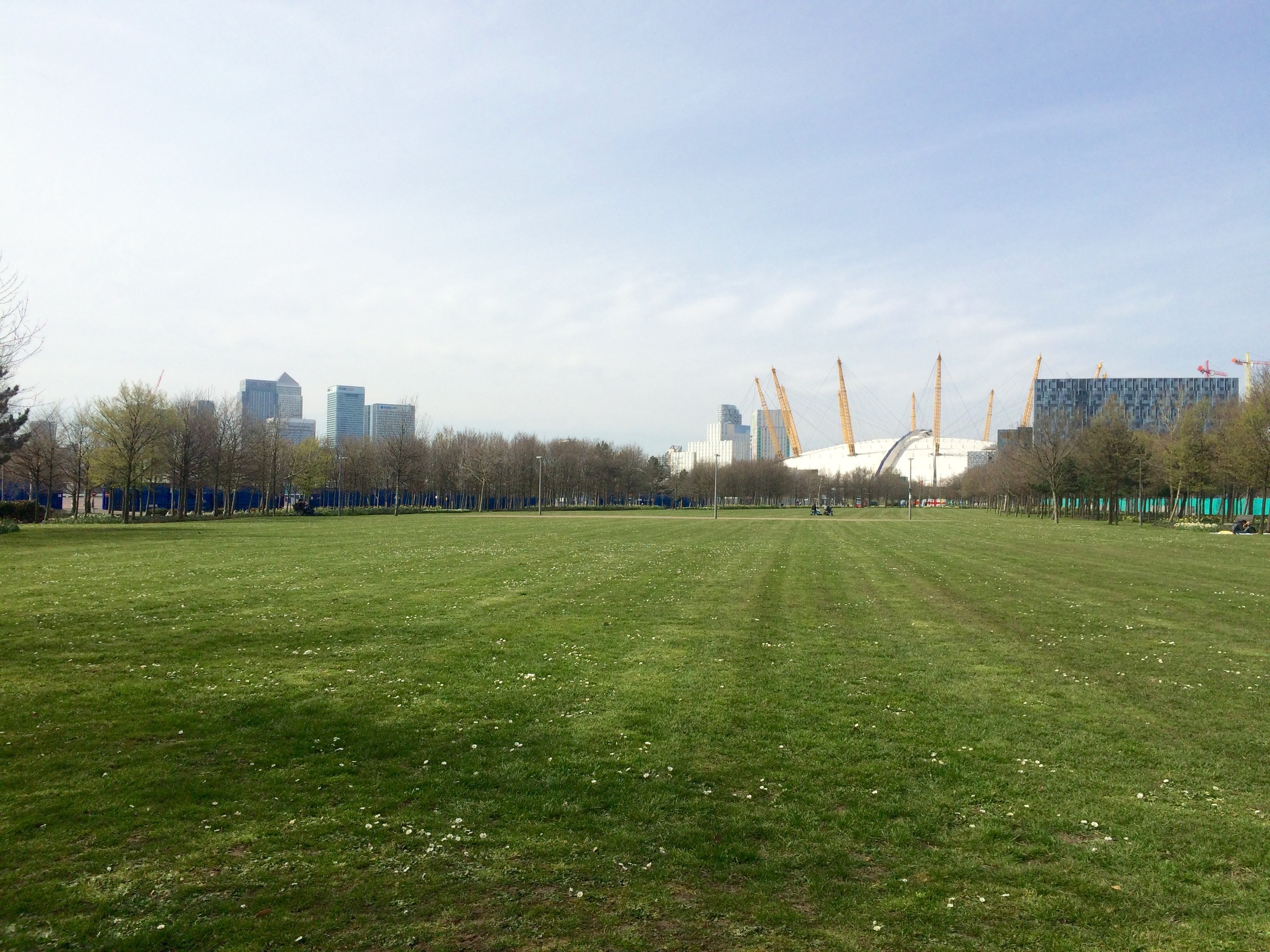 View north across Greenwich Peninsula's Central Park towards The O2 [ @greenpenlondon ]