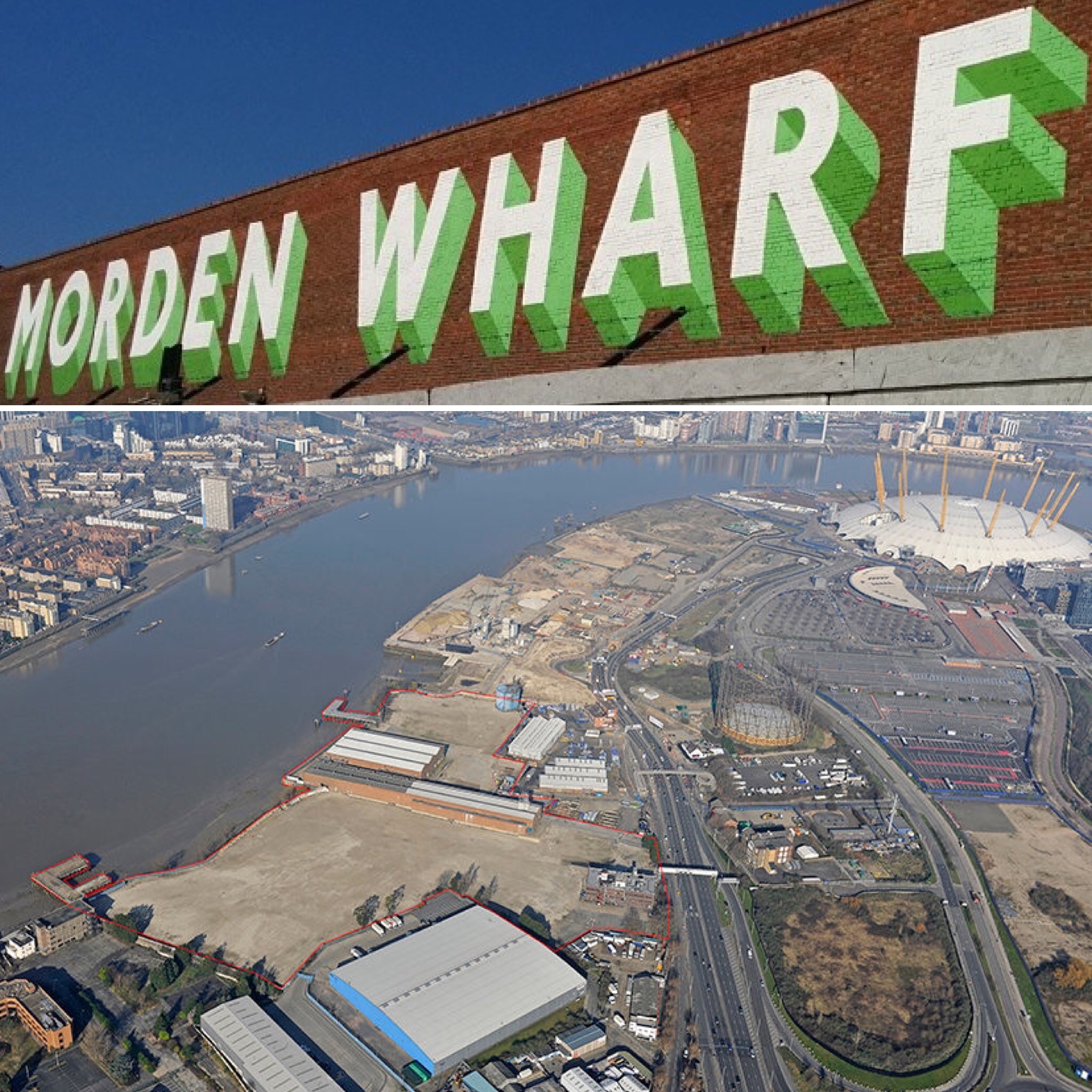 The undeveloped Morden Wharf site (outlined red above) was acquired by developer U+I, formerly Cathedral, in March 2012. Recently revealed that Koolhaas architects are working on a masterplan for the site [ U+I Group Plc ]