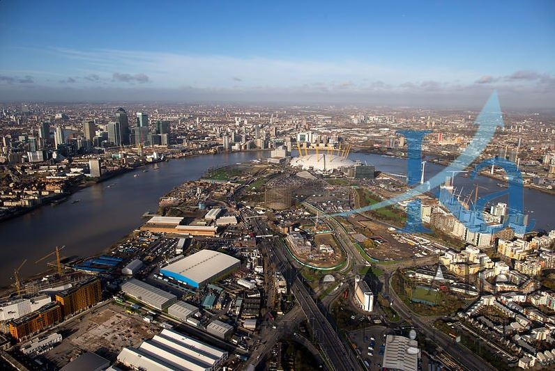 Aerial photo of the Greenwich Peninsula - Dec 2015 [Kevin Allen  @LondonAirViews  see  http://bit.ly/1pi9mbo ]