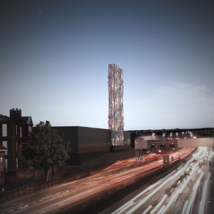 CGI of completed flue stack towering over the A102 road, coined the 'optic cloak', which is due to be finished by end April 2016 [CF Moller]