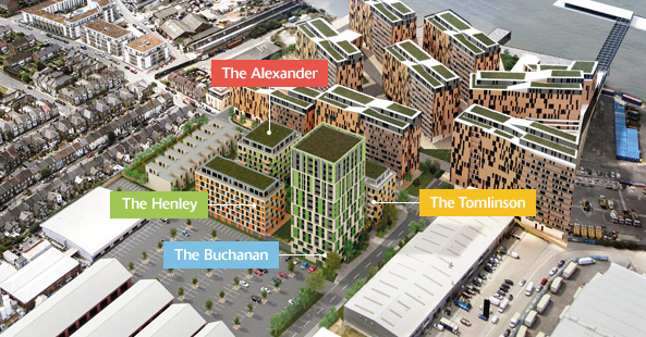 Weston Homes' proposals for the Precision, located to the south of the former Alcatel-Lucent factory site and adjacent to Barratt Homes' Enderby Wharf scheme [ Weston Homes ]
