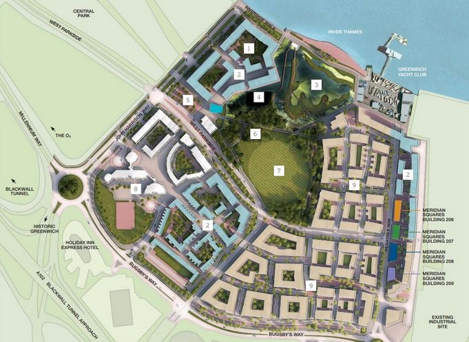 Most recent site plan of the Greenwich Millennium Village shows the latest construction phase 3, 4 & 5 - the Meridian Squares buildings [Countryside Properties/Taylor Wimpey]