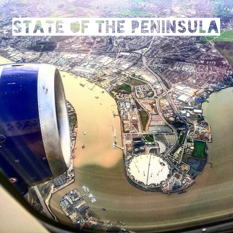 COVER PICTURE: Aerial shot, flying west over the Greenwich Peninsula - March 2016 [ @RayanDkhilFLY ]