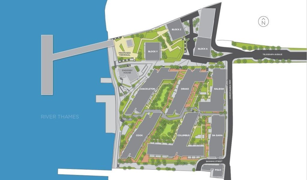 Barrat Homes'  latest site plan of Enderby Wharf, reflecting changes to the Enderby Place area to the north of the site.