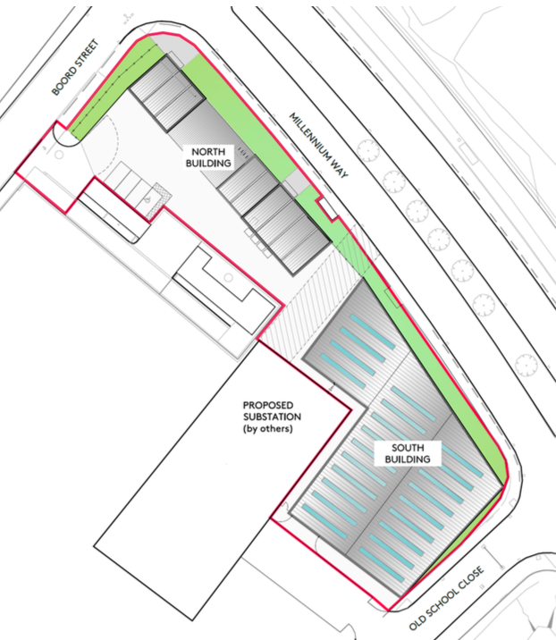 Proposed site layout - location of North and South buildings [Northpoint Architects]