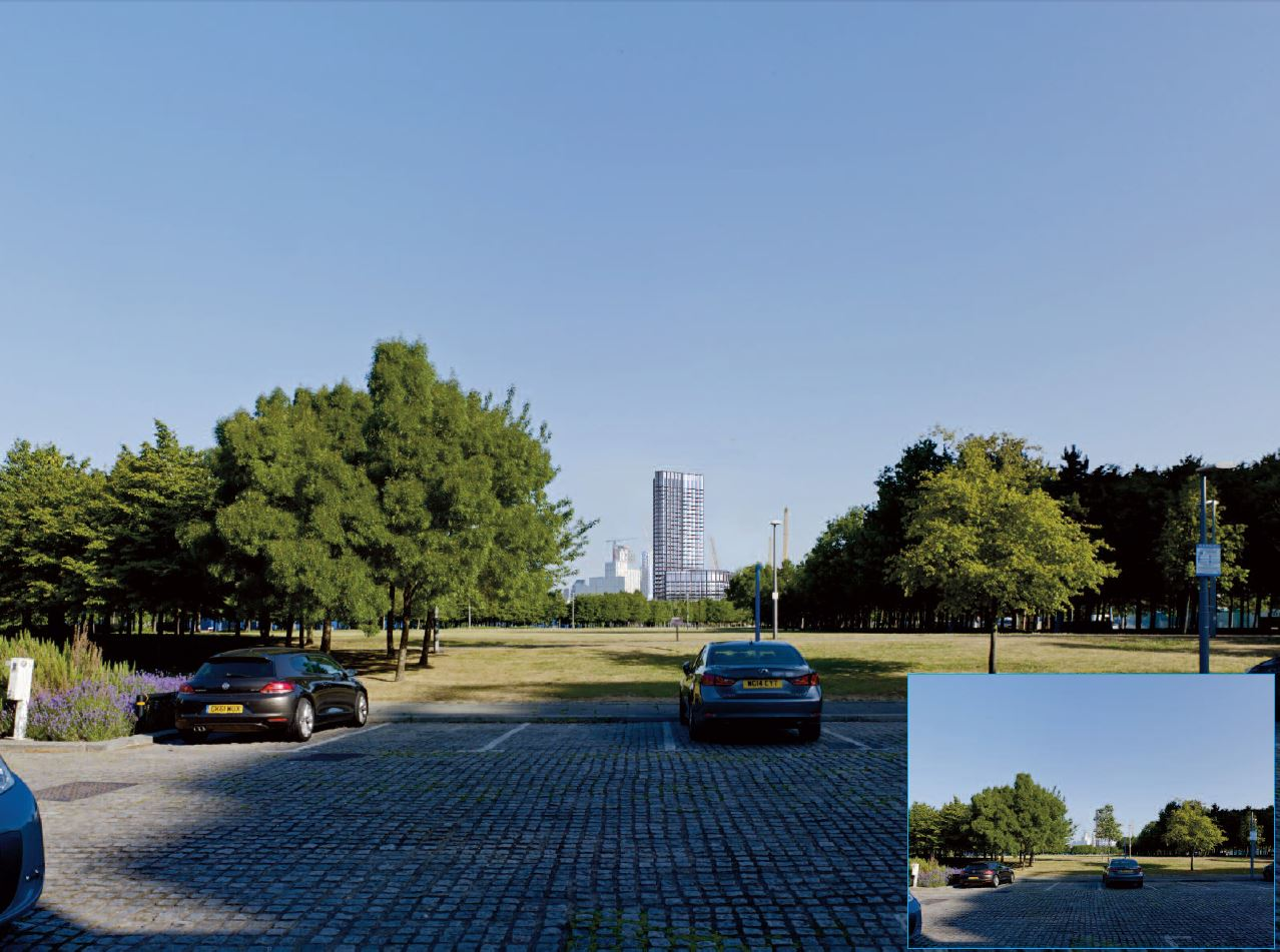 Proposed view  -revised massing for Plot N0201  [Montagu Evans LLP]