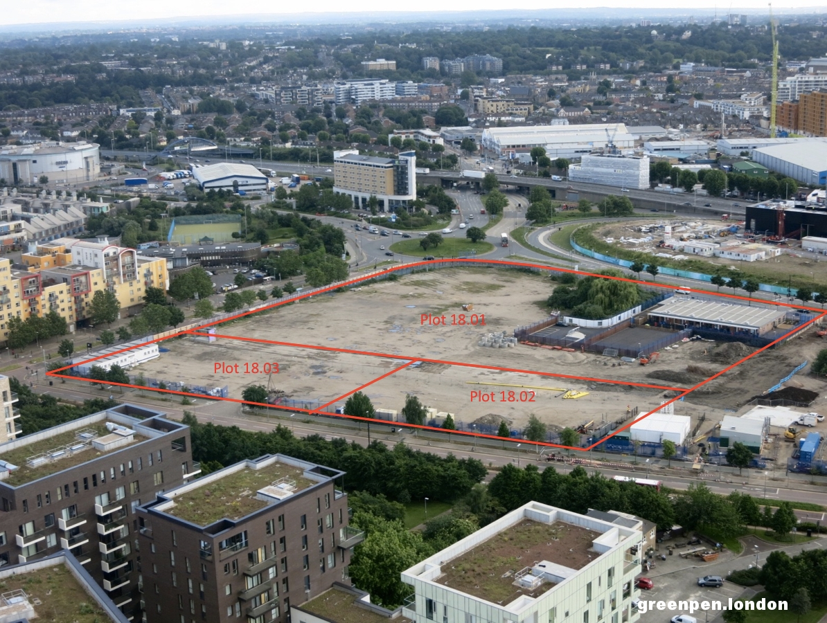 View over Lower Brickfields site from penthouse of M0104 The Waterman, annotated with proposed plots, June 2016 [greenpenlondon]