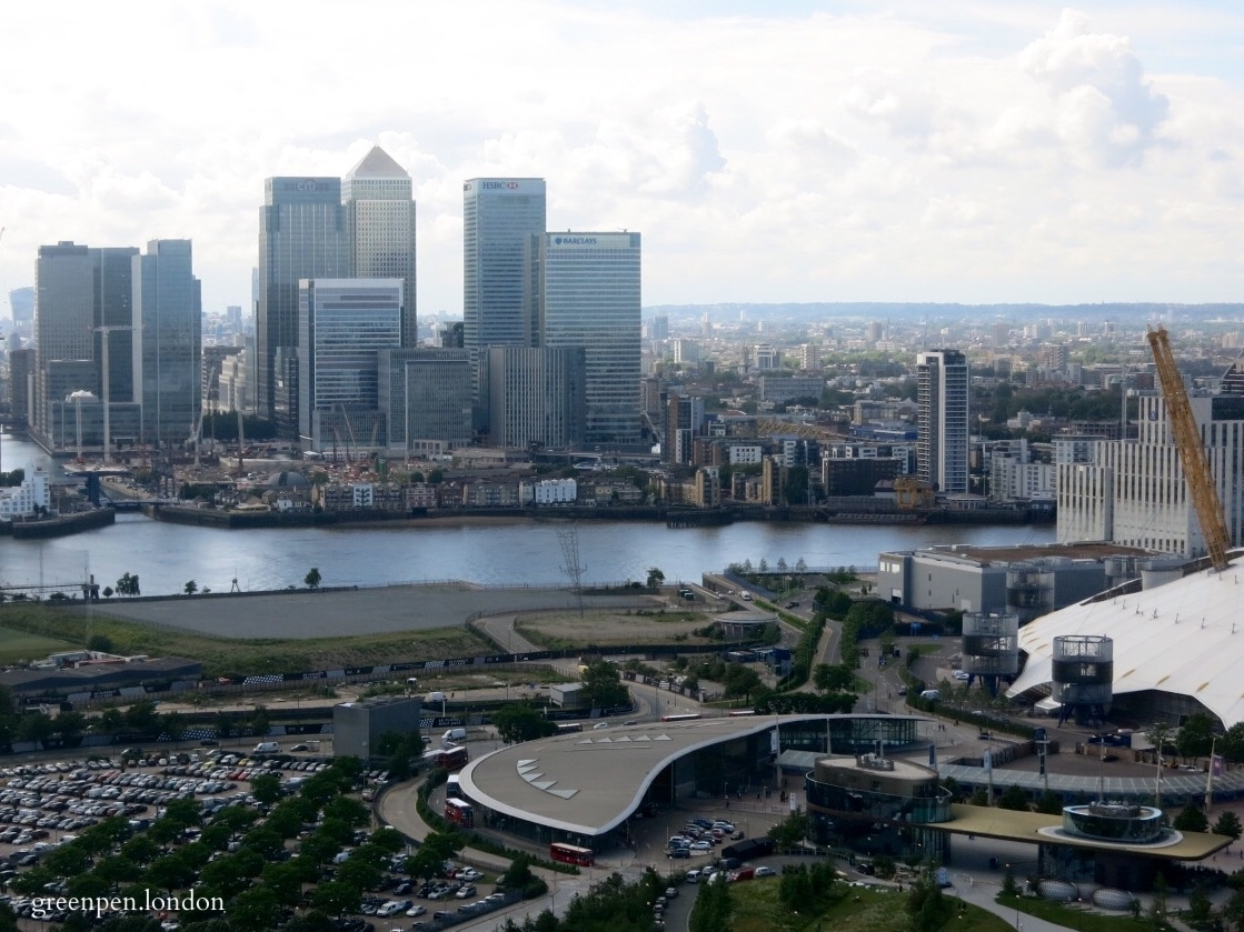 Derelict Peninsula Quays site (renamed Meridian Quays) overlooking Canary Wharf across the Thames - June 2016 [greenpenlondon]