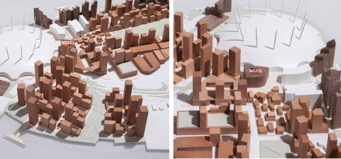 Block model of 2015 Masterplan , showing earlier massing for N0201 [Knight Dragon/Allies and Morrison]
