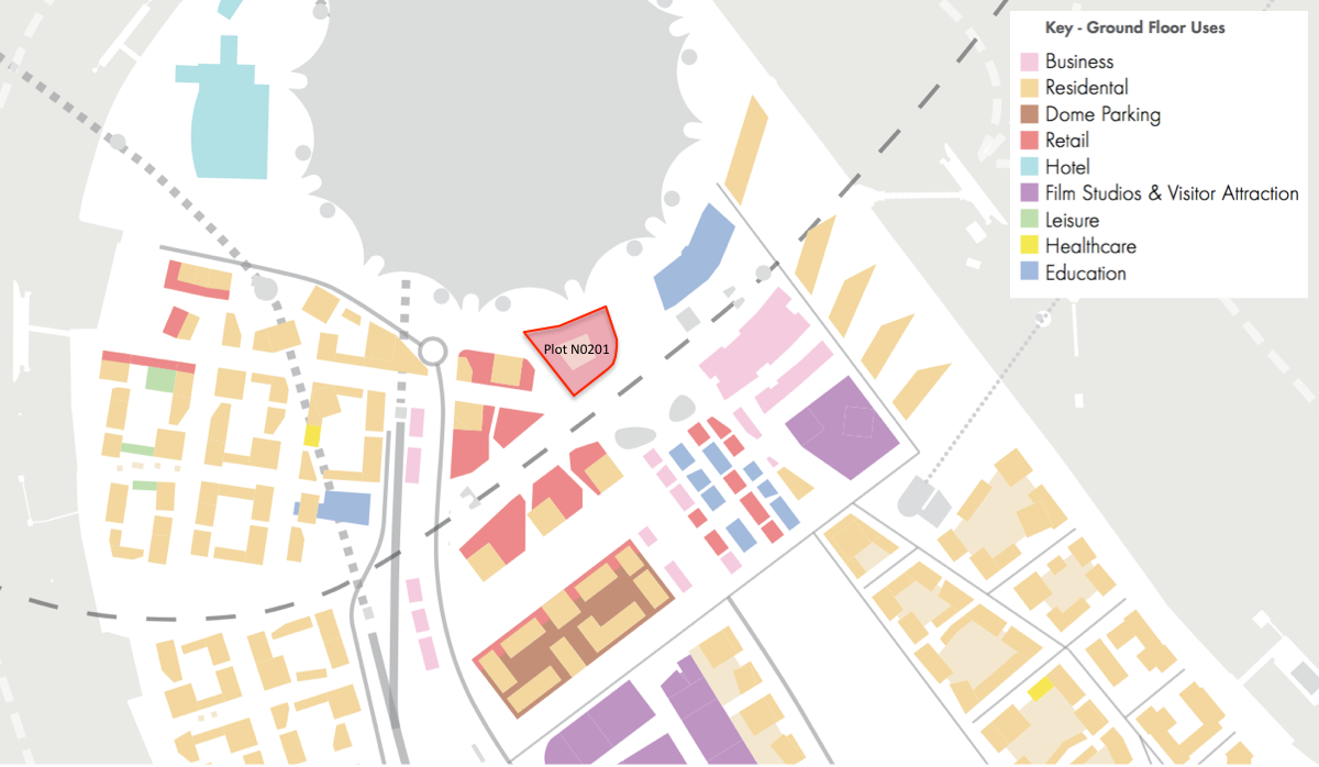 Illustration of proposed ground floor use , 2015 Masterplan [Knight Dragon/  Allies and Morrison]