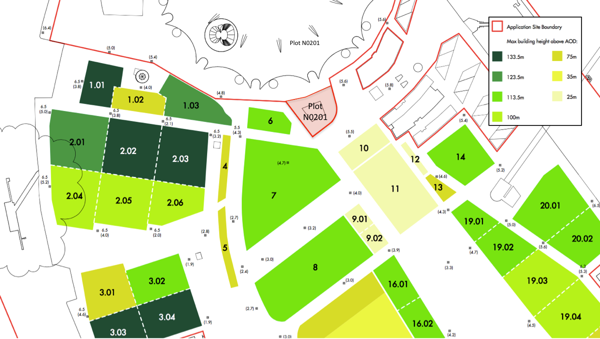 Plot numbers of 2015 Masterplan with maximum building height,  largely determined by London City Airport's (LCA) Obstacle Limitation Surfaces.  Note that Plot N0201 originates from the earlier 2004 Masterplan and is excluded from the new masterplan.[Knight Dragon/ Allies and Morrison]