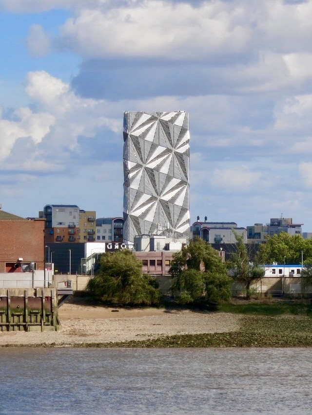 The Optic Cloak, an architectural flue stack of Greenwich Peninsula's new Low Carbon District Energy Centre.