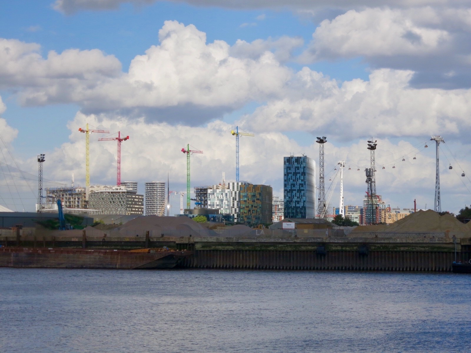 Upper Riverside developments and the Emirates Air Line cable car.