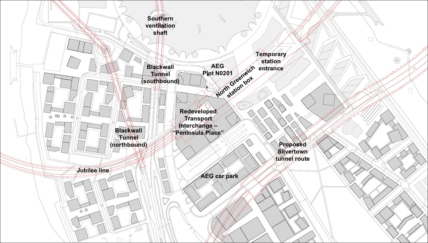 Underground constraints  on Greenwich Peninsula