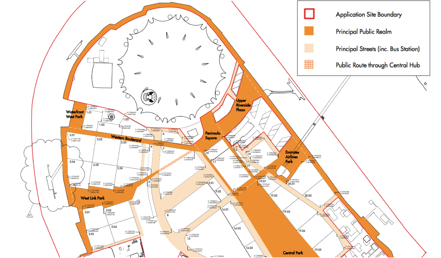 Public Realm map  shows how Peninsula Central proposals link with the rest of the Peninsula