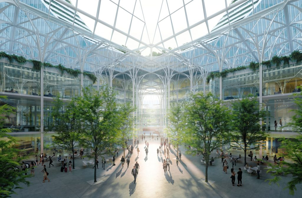 """Residents and visitors will emerge from the tube into an 80ft high winter garden and glass galleria"""