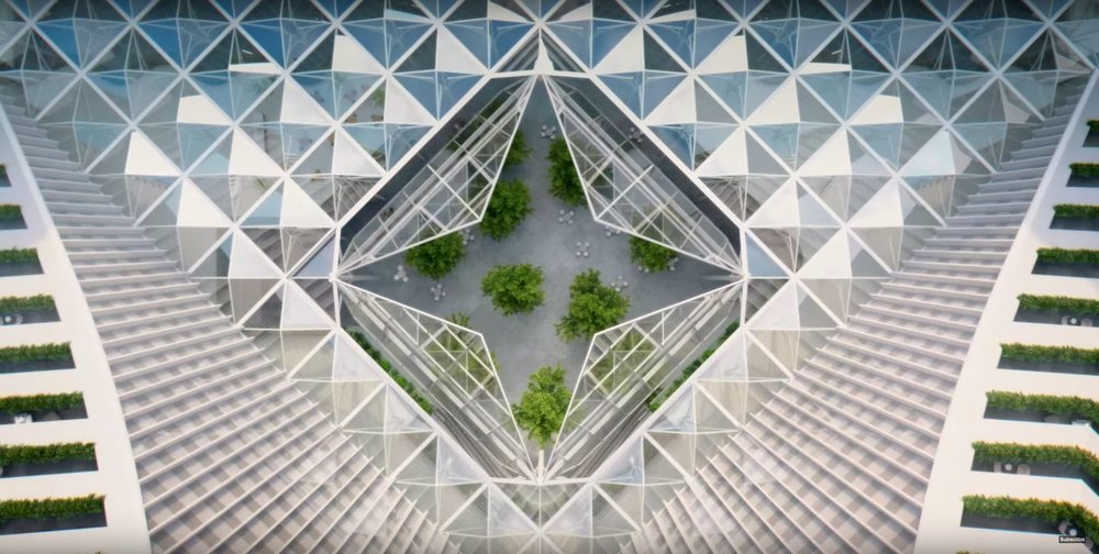 """An urban forest sits beneath a glass cupola, which floods the space with natural light"""