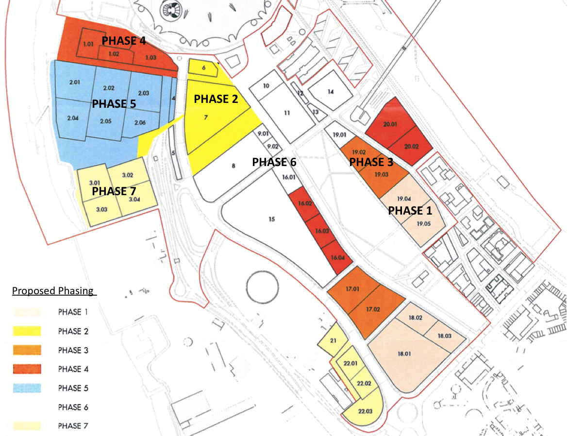 Knight Dragon's  proposed phasing of 2015 Masterplan  - not yet approved