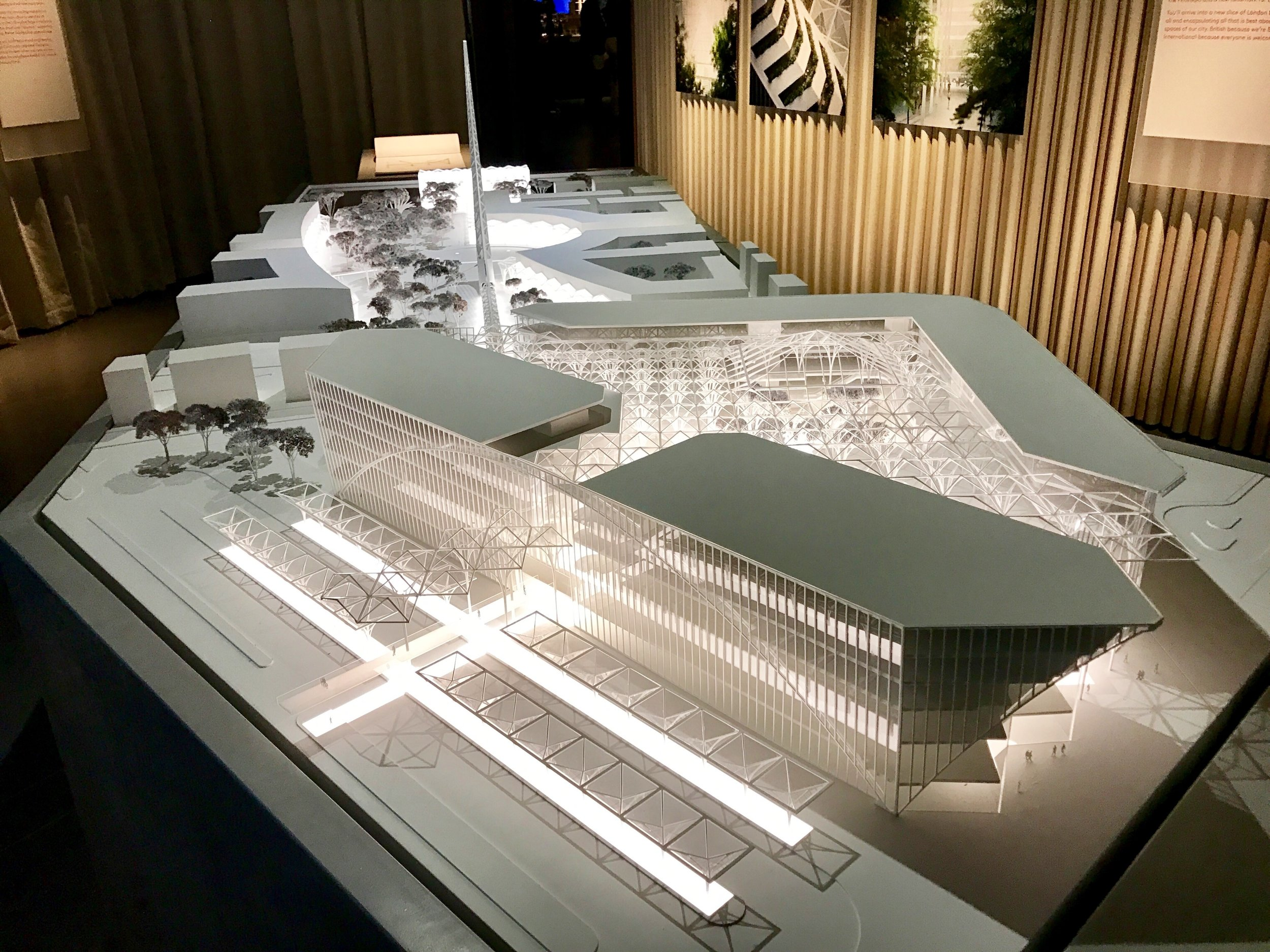 Large scale model of Calatrava's Peninsula Place proposals, with top of towers sliced off [greenpen.london]