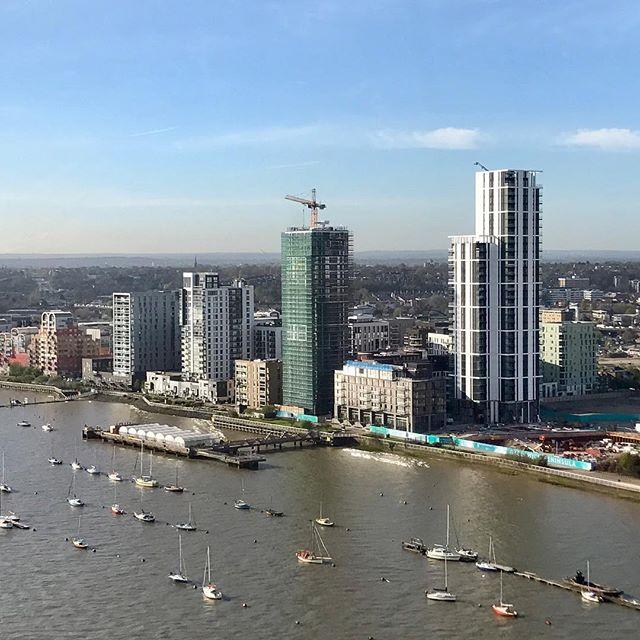 Lower Riverside from the #emiratesAirLDN #greenwichpeninsula #cablecar #thames #greenwich #skyline #construction #london