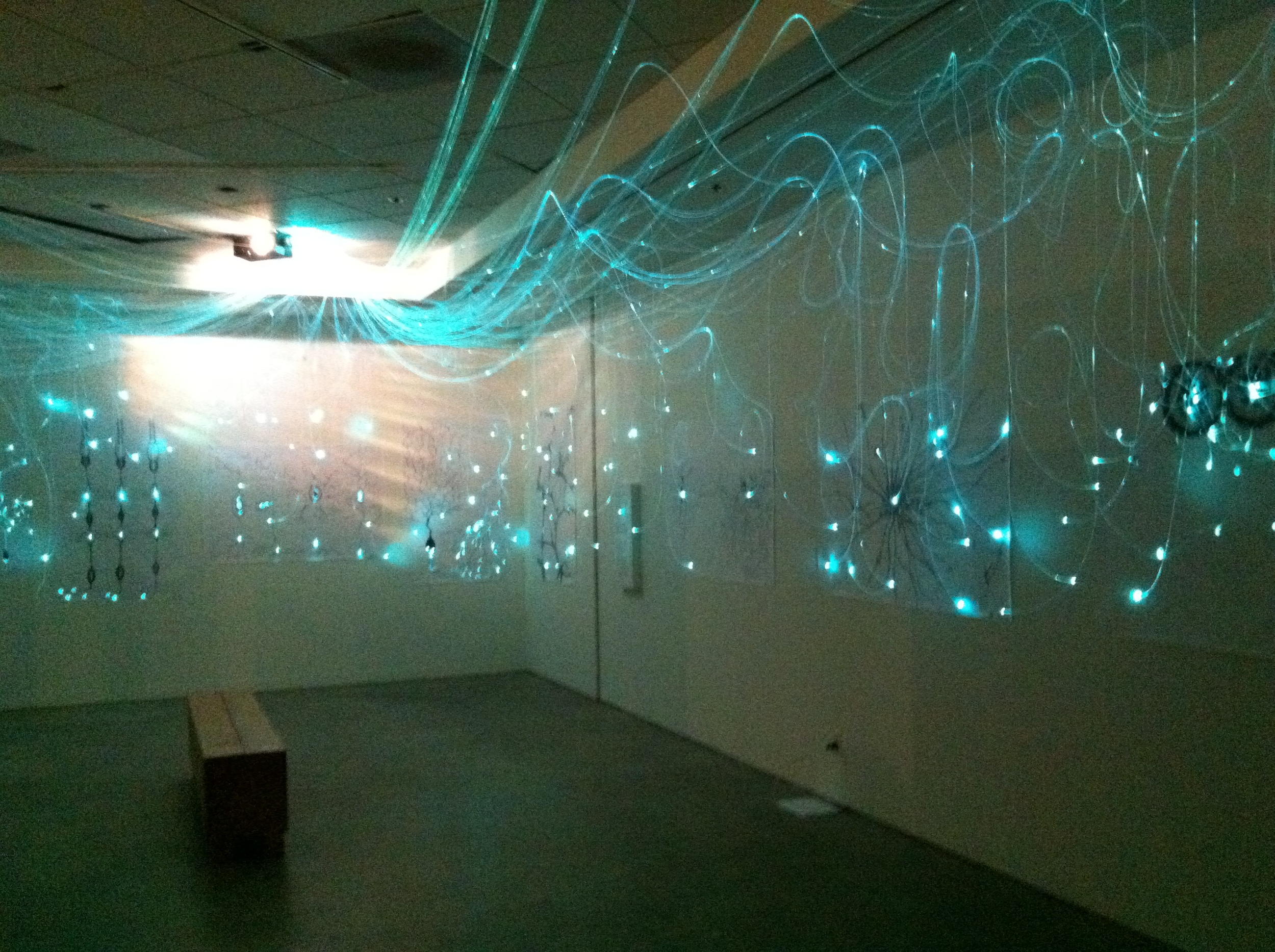 Light installation in teal phase