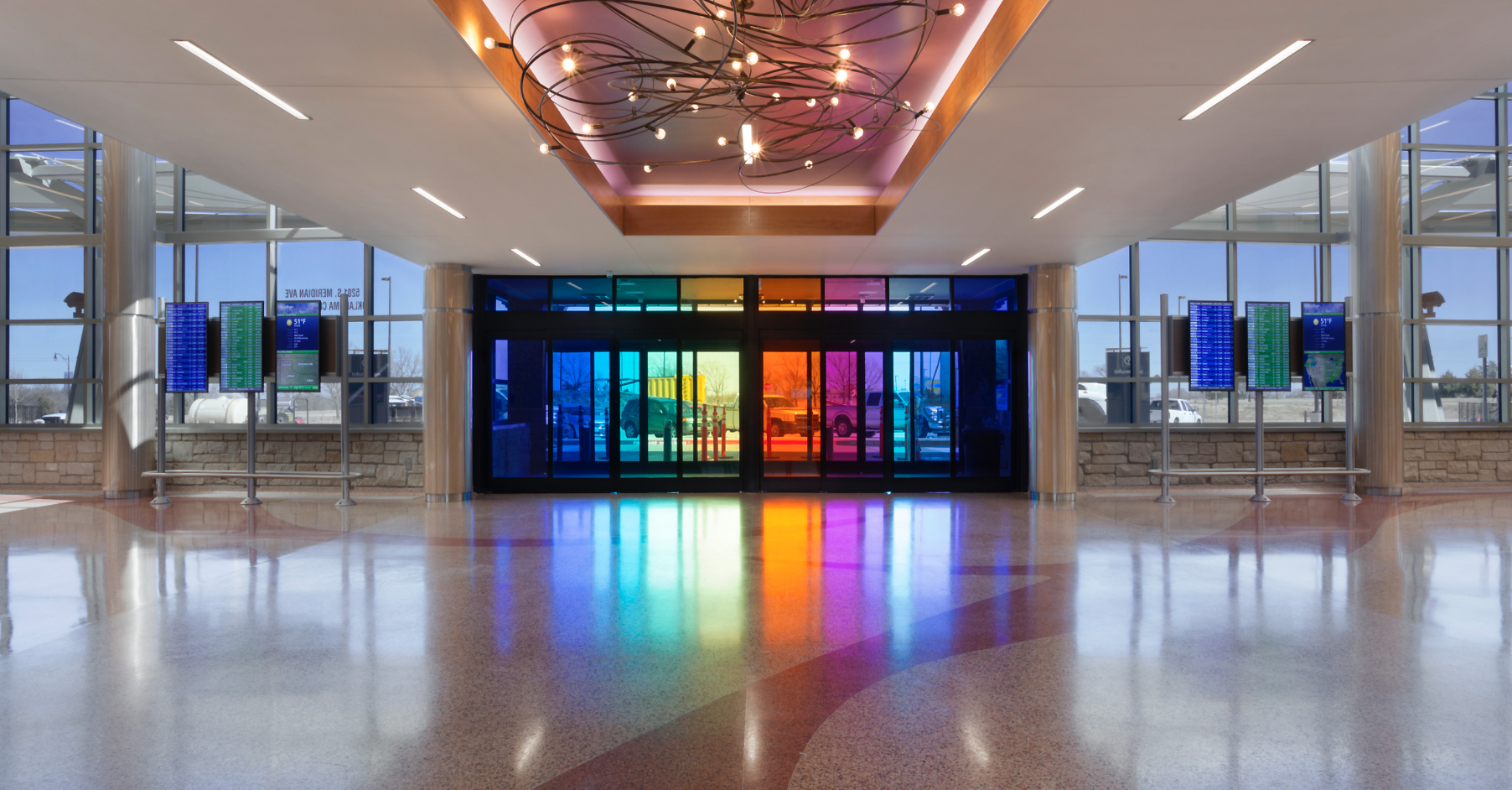 Will Rogers airport rental car facility entrance, Oklahoma City, commissioned by: Guernsey