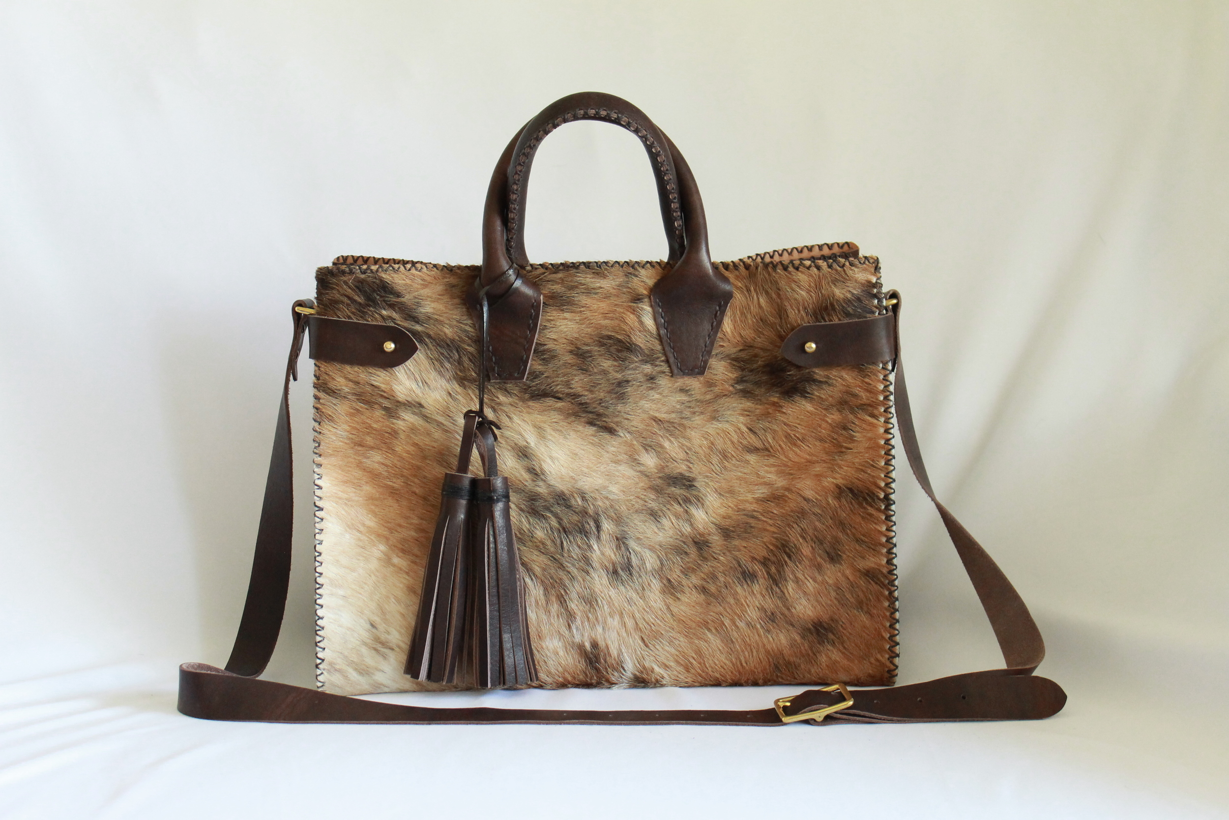 Sadie Bag in Hair-on-Hide and Chocolate Essex by Beargrass Leather