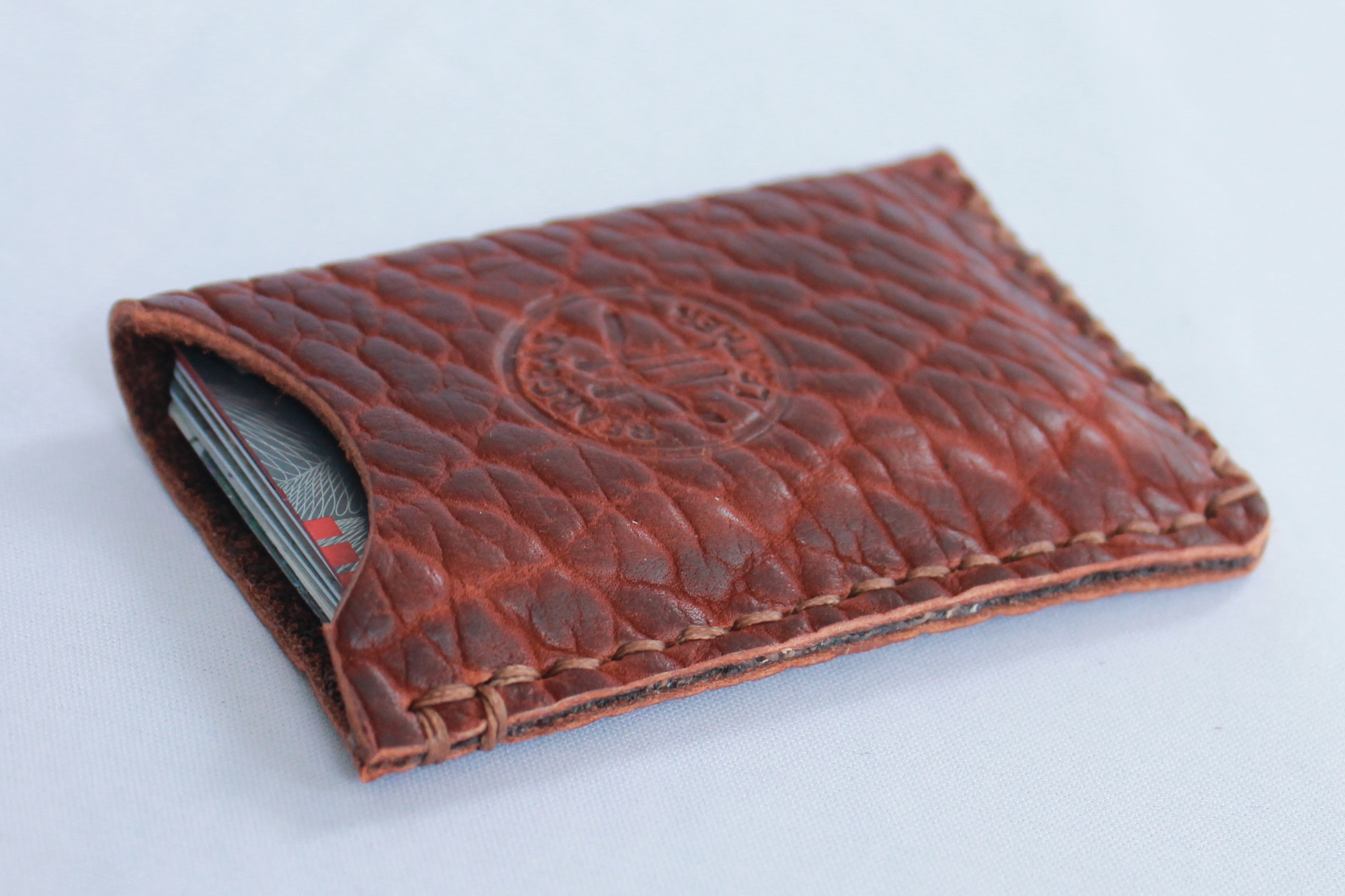 Big Pebble Bison Leather Custom Wallet Made in USA