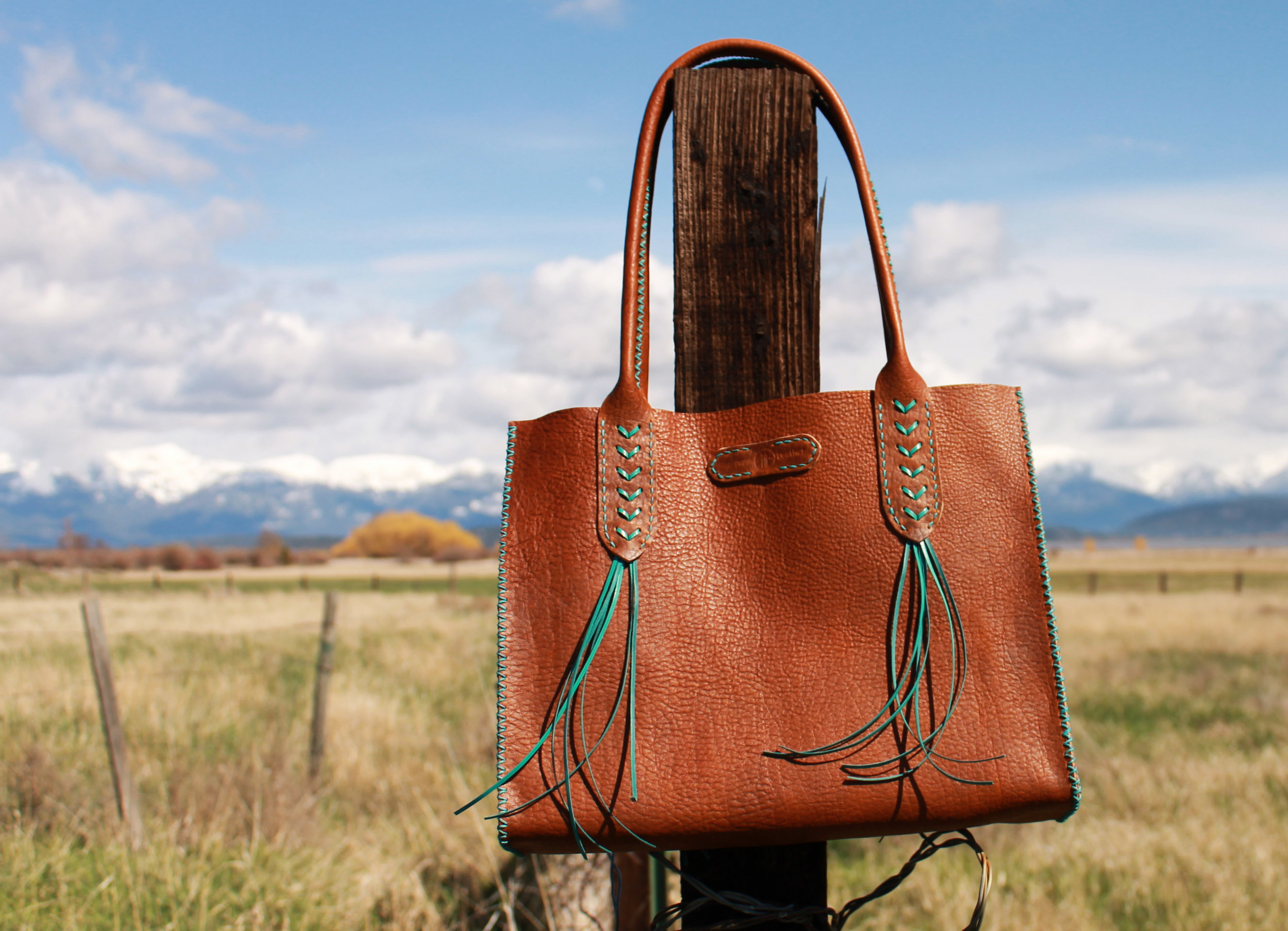 Luxury Oversized Tote with Leather Lace Western Design Bison Leather Made in Montana