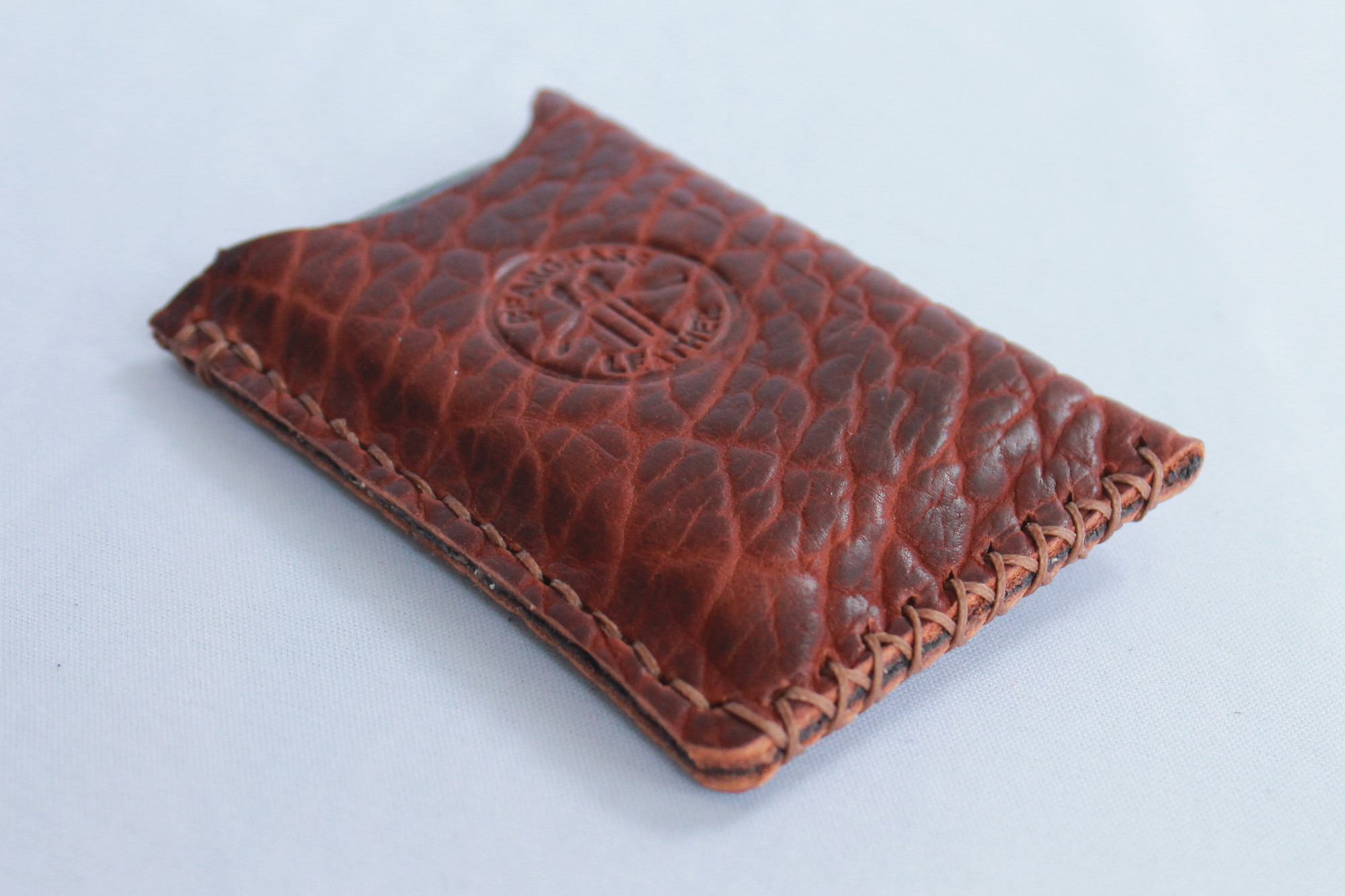Bison leather likes to shrink and make this aggressive pebbling.