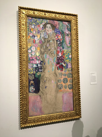 I learned that the woman in this painting and Klimt himself died before he could complete it.