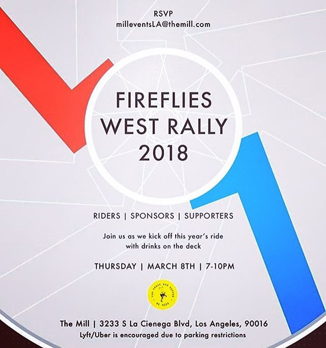Tonight! Fireflies West Rally. 7-10 at @mill_la Be there and be awesome. #fireflieswest #firefliescc #themill