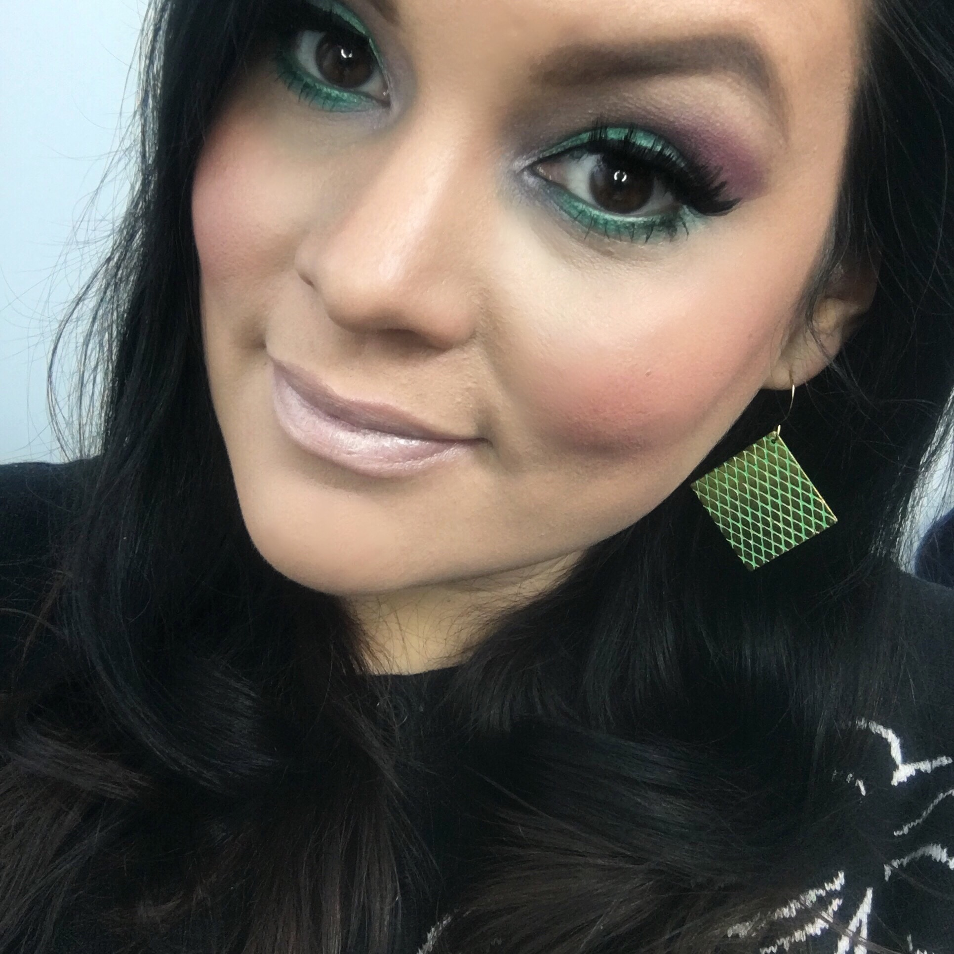 Colorful makeup and lipstick that glows