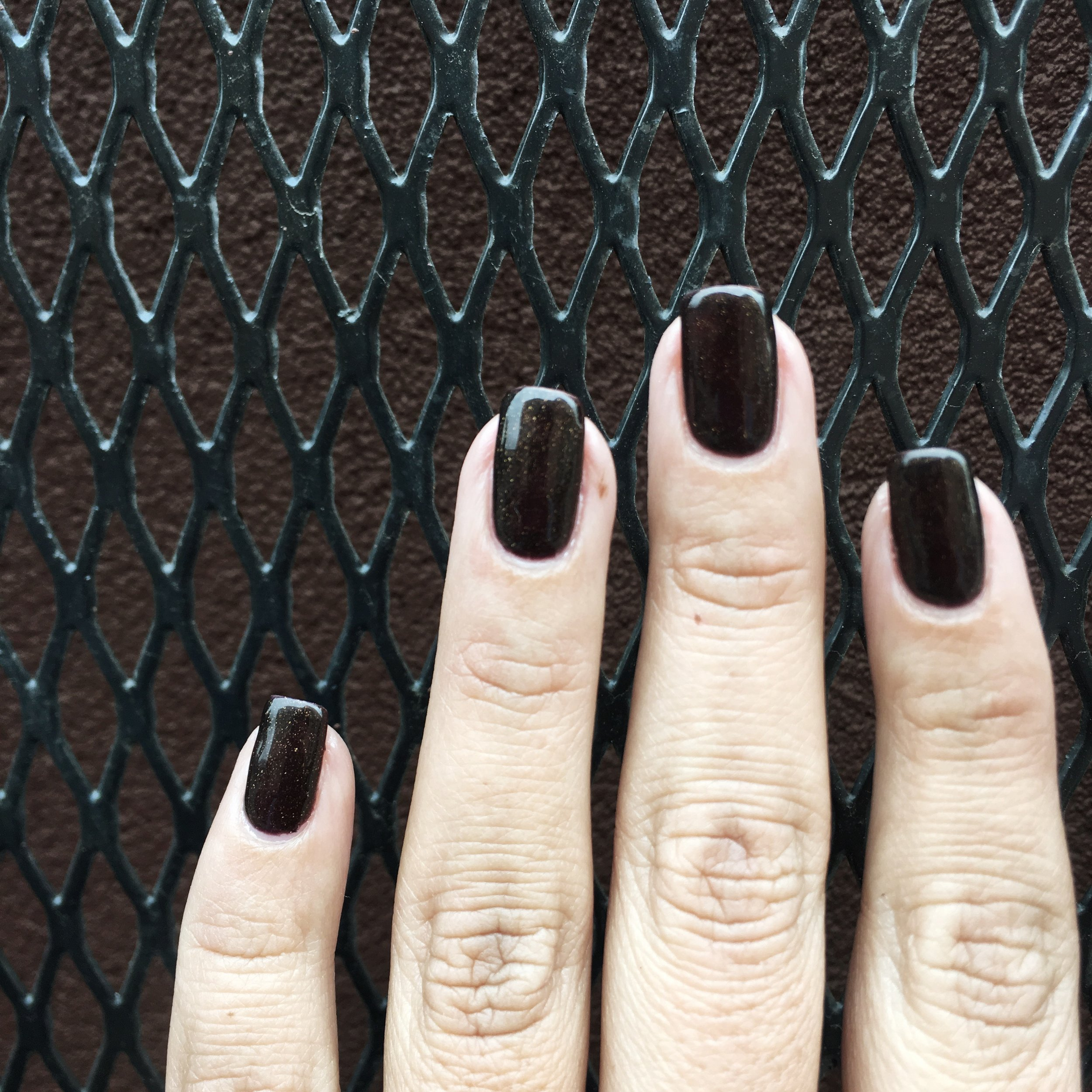 My nails are ready for fall with a brown shellac manicure