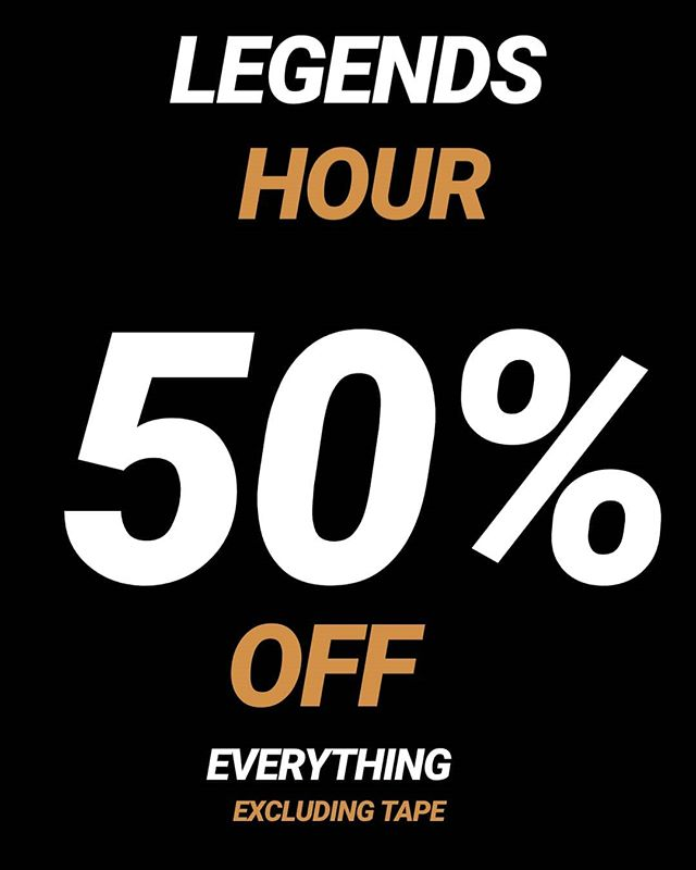 LEGENDS HOUR is coming to the New Zealand Nationals!! Get 50% OFF everything from 12-1pm ONLY!! Excluding Tape.  There is also a $10 sale rack for you to grab some bargains!! Get on it legends!! @newzealand_nationals #legends #thankslegends #beastmodeathletica #beastmode #onehouronly #legendshour