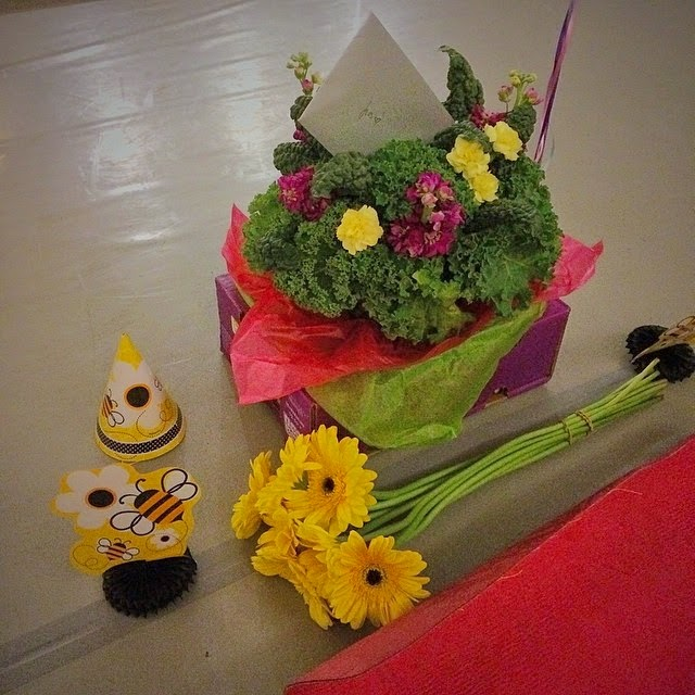 A kale bouquet from Marie and more bee-themed birthday fare from Jenn