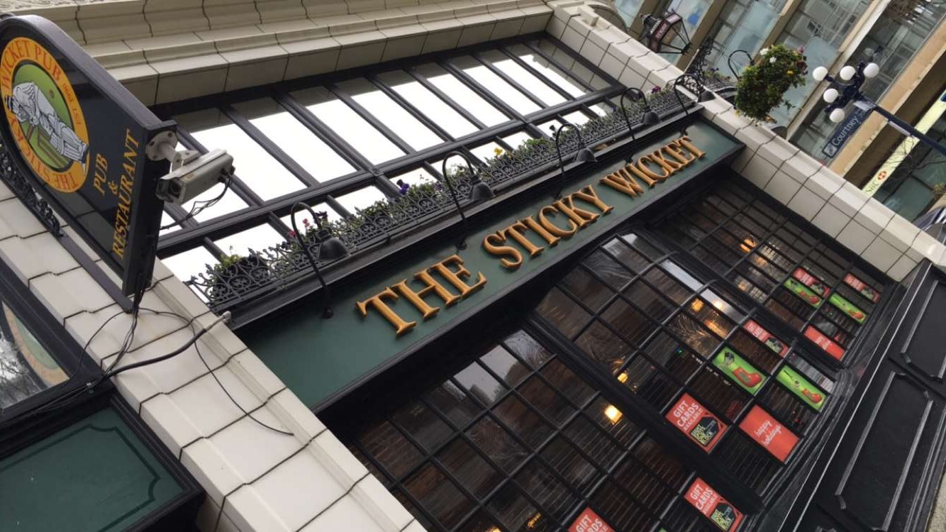 First stop: the Sticky Wicket at the Strathcona Hotel