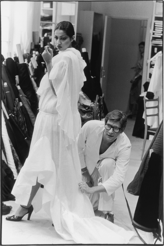 Me getting fitted for my wedding. Just kidding!  Yves Saint Laurent in his studio fitting a toile from the Fall-Winter 1977 haute couture collection. Model Kirat. ©André Perlstein.