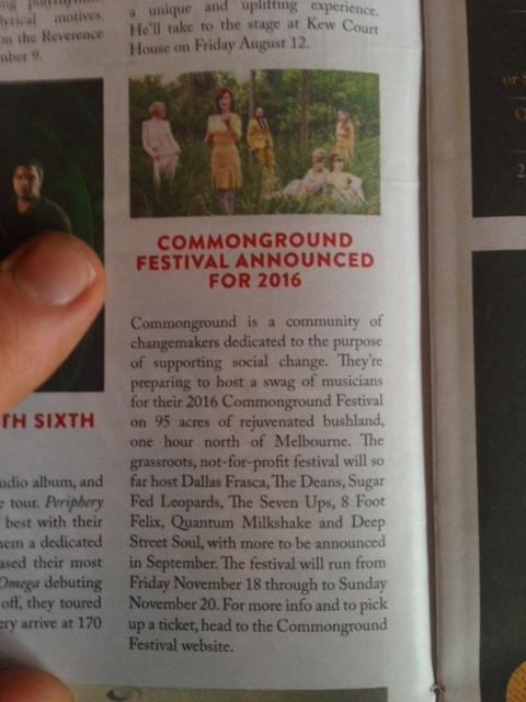 Beat Magazine featured Commonground Festival in their news. Nice to see our little festival making waves.
