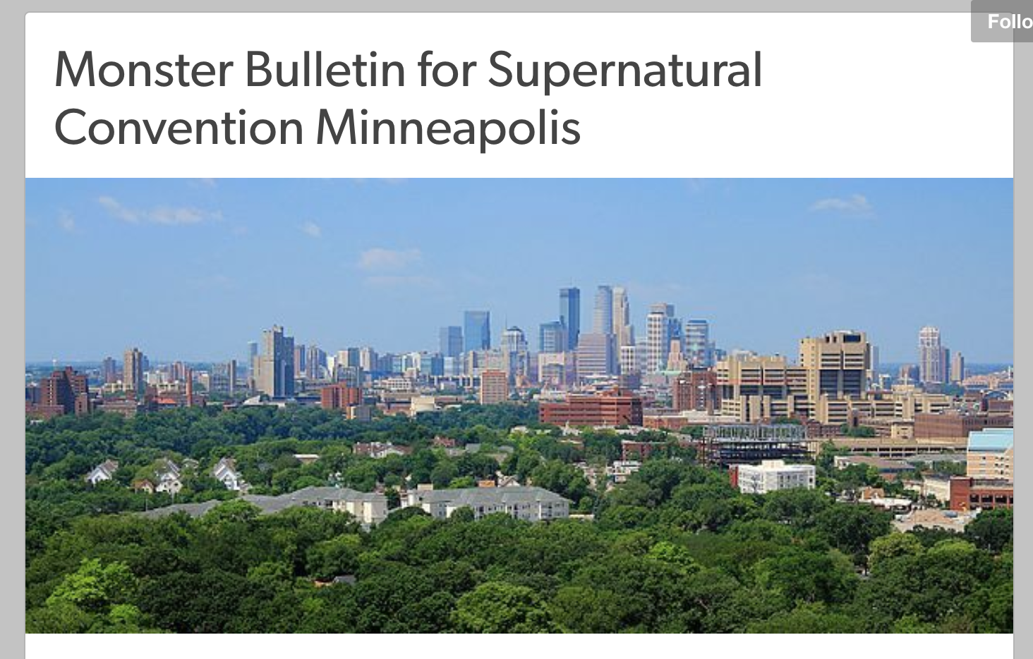 Supernatural Monster Bulletin: Minneapolis