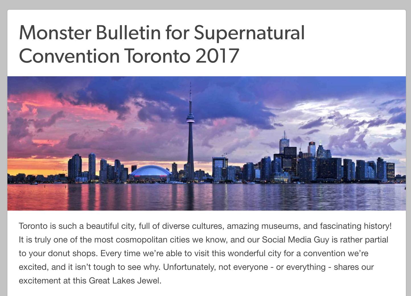 Supernatural Monster Bulletin: Toronto