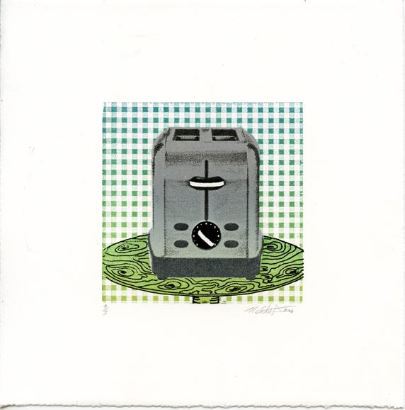 Calvert, Myles: Toaster(day) laser woodblock