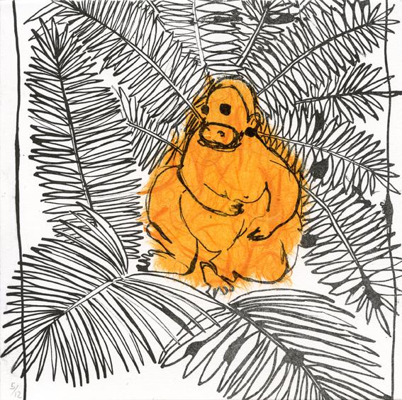 Exposito Maria: Orangutan lithography chine colle