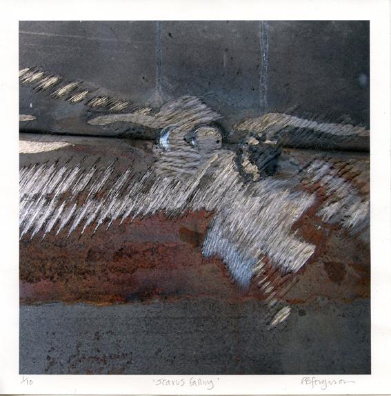Ferguson, Edward: Icarus Falling archival inkjet and embossing