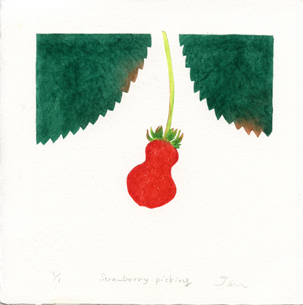 Fujiwara, Ten: Strawberry Picking collagraph