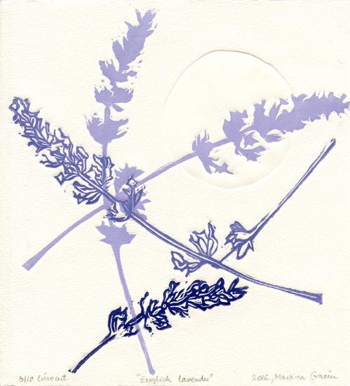 Gracin, Martina: English Lavender linocut