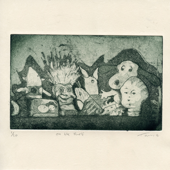 Hendry, Tracy On the Shelf etching aquatint