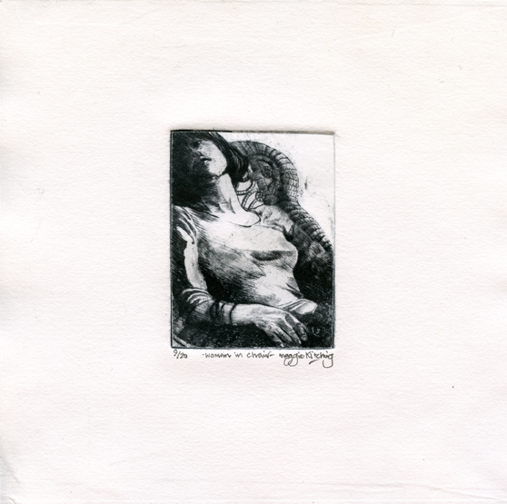 Kitching, Maggie: Woman in Chair drypoint