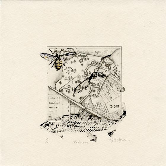 McTague, Moira: Return lithograph chine colle