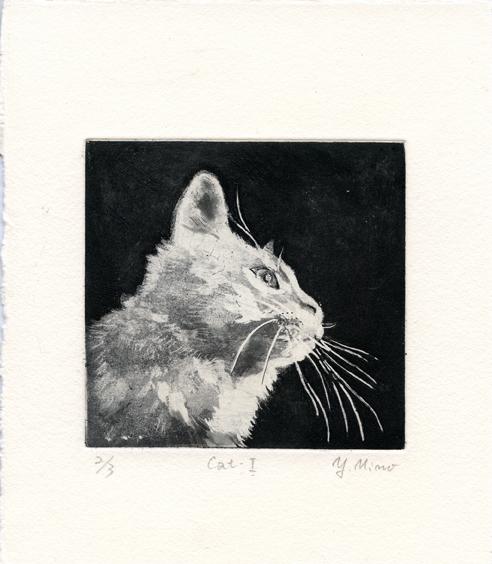 Mino, Yoshiko: Cat I etching aquatint